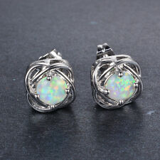 Women 925 Silver Stud Earrings Round Cut White Fire Opal Wedding Jewelry
