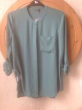 TU Jade Green Mandarin Collar Blouse Size 16uk Modernist With