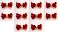 LOT OF 10 Fuchsia Center Gold Back Men's Adjustable Bowties/Bow tie Tuxedo
