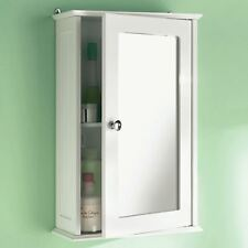 Wall Mounted Bathroom Wall Cabinet Single Mirror Door Cupboard White Wooden New