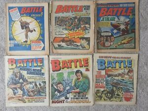 6 x Battle Picture Weekly Comic Valiant 1976 1977 1983 1987 Action Force Vintage