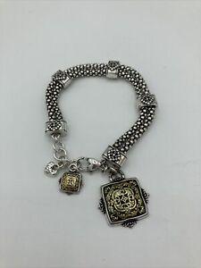 Brighton Filigree Bracelet Dual Chain Floral Moroccan Boho Motif Gold Tone Charm