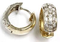 "1 ct tw Natural Diamond Solid 14k Two Tone Gold Huggie Wide Hoop Earrings 0.7"" L"