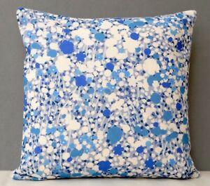 Imogen Heath Designer Cushion Cover Bright Abstract Floral Design Blue & Cream
