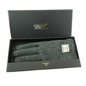 Gents Black Leather & Harris Tweed Gloves Boxed In Charcoal LB3012-COL1