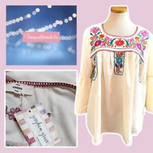 NWT ENTRO Embroidered Floral Shirt Top Size XL NEW