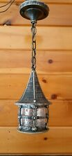 Vtg Gothic Cathedral Medieval Cast Metal Hanging Light Fixture 2 Available
