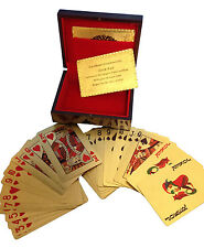 24 Carat 99.9% Gold Plated Playing Cards in Beautifull Wooden Gift Box