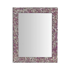 "30"" X 24"" Multi-Colored Magenta & Silver, Luxe Mosaic Wall Mirror - Open Box"