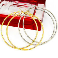 NEW PAIR SILVER OR GOLD PLATED HOOP EARRINGS LARGE CIRCLE CREOLE BIG HOOPS GIFT