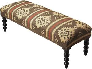 BENCH TRADITIONAL ANTIQUE ROUND LEGS TAOS DISTRESSED SOLID SHEESHAM WOOL JU