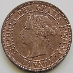 1876 Canada Canadian Large 1 Cent Victoria Coin