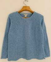 L.L.BEAN Women's Sweater Size XL Marled Blue 100% Cotton Long Sleeve