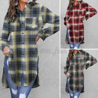 UK Womens Check Shirt Ladies Casual Plaid Long Sleeve Tunic Blouse Tops Tee 8-26