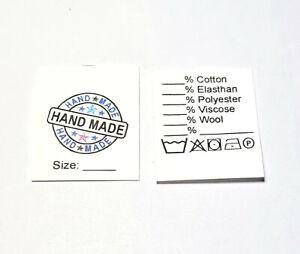 Textiletiketten HAND MADE Universal in englischer Sprache auf Polyestertaft