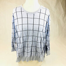 Oxford 14 Ladies pale blue metallic black-checked cotton jumper