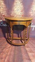 Antique Old Wooden  Barley Twist Drop Leaf Side Table Dining Hall Shabby Chic