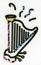 Aufkleber Harfe farbig Zupfinstrumente Musik Noten