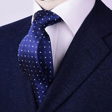 "Mens Skinny Navy Blue Tie Contrast Diamond Studs 3.5"" 9CM Geometric Woven Luxury"