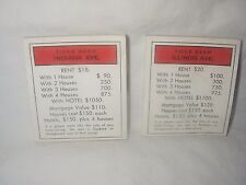 MONOPOLY GAME PROPERTY DESIGN NOTE PAD LOT OF 2 INDIANA AVE & ILLINOIS AVE 1984