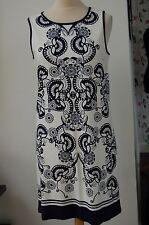 Max Studio Ärmellos Drucken Jersey Kleid marine/weiß Größe S Rrp £ 45 Bnwt (E3)