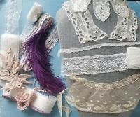 Antique VTG  Lace Trim  Brussels Collar Ostrich Feather Lot For Doll Dress Hats