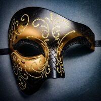 Half Face Phantom Of The Opera Venetian Gold Glitter Masquerade Costume Mask