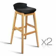 2x Oak Wood Bar Stools Wooden Barstool Dining Chairs Kitchen Plywood Black 3621