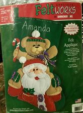 "Dimensions Feltworks Applique 18"" Santa & Teddy Stocking Kit #85025 New Rare"