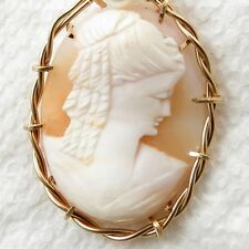 Heirloom Hand Carved Orange Shell Cameo Pendant 14K Rolled Gold Jewelry