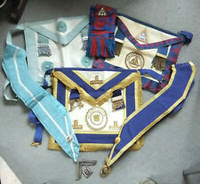 More details for rare joblot of masonic regalia - aprons, collars, sash, jewels - some wear