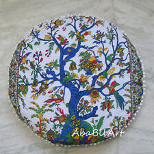 "28"" Indian Tree Of Life Hippie Pillow Cushion Ottoman Cover Round Pouf Cover Art"