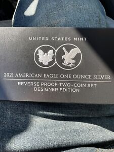 American Eagle 2021 One Ounce Silver Reverse Proof Two-Coin Set (Same Day Ship)
