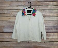 Michael Simon Floral Embroidered Long Sleeve Button Down Vintage Rare Medium
