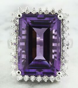 7.50 Carat Natural Amethyst 14K Solid White Gold Diamond Ring