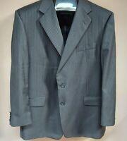Hickey Freeman Mens Two-Button Pinstripe Gray Wool Blazer Jacket Size 46 Reg