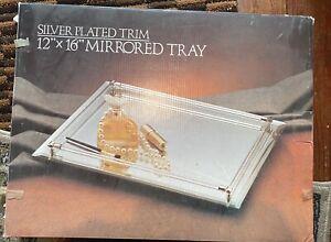 Brand new— Vanity Mirror Perfume Tray Glass Rod Rails12x16 Gold Corners