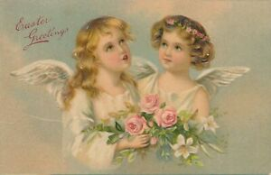 EASTER - Two Angels Holding Roses