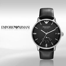 NIB Emporio Armani Meccanico Automatic Black Dial &  Leather Mens Watch AR4656