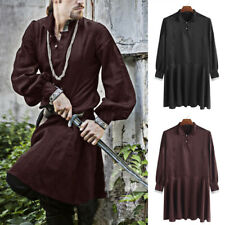 INCERUN Mens Medieval Renaissance Long Sleeve Party Tunic Shirt Cosplay Costume