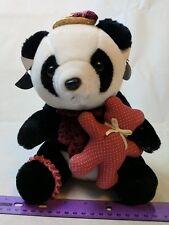 Logo Bear 1985 Black/White Panda Bear Plush Stuffed Animal w/ Teddy, Hat, more