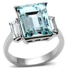 Blue topaz ring ladies radiant cut cz 8ct stainless steel silver baguettes sz t
