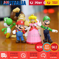 6x Super Mario Figures Luigi Yoshi Friend Toy Cake Topper Figurine Decor Gift AU