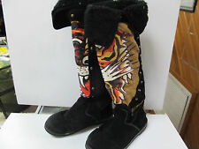 "ED HARDY Womens Black Suede Flame Graphic Knee High 18"" Snow Boots Sz 6"