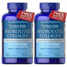 Puritan's Pride Premium Hydrolyzed Collagen 1000 mg x 180 Caplets 2 PACK