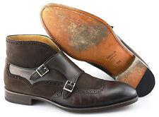 Men's MAGNANNI 'Lavon' Dark Brown Monk Strap Leather/Suede Boots Size US 9.5 - D