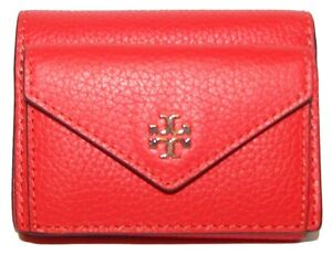 TORY BURCH Carter Poppy Red Leather Micro Wallet NWT