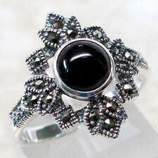 ADORABLE  MARCASITE 2 CT BLACK ONYX 925 STERLING SILVER RING SIZE 5-10