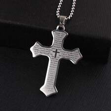 Edelstahl Damen Herren Anhänger kleines Kreuz mit heiligem Text schlicht + Kette