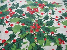 Vtg Christmas Tablecloth Holly Berries 52X52 Winter Holiday Cotton Poly Festive